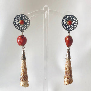 Dainty Sterling and Coral Pierced Earrings