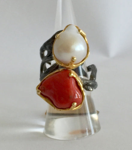 Mabe Pearl and Coral Ring - Size 8