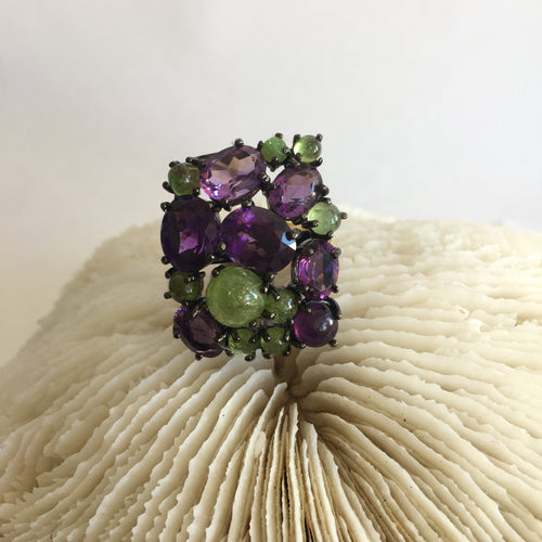 Amethyst and Citrine Ring - Size 7.5