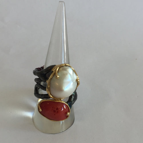 Mabe Pearl and Coral Ring - Size 7