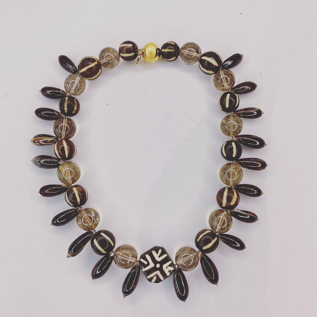 Rutile Quartz, African Batik Bead Necklace