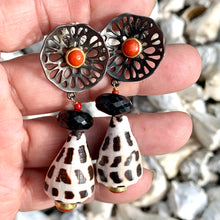 Sterling Silver, Coral and Cone Earrings