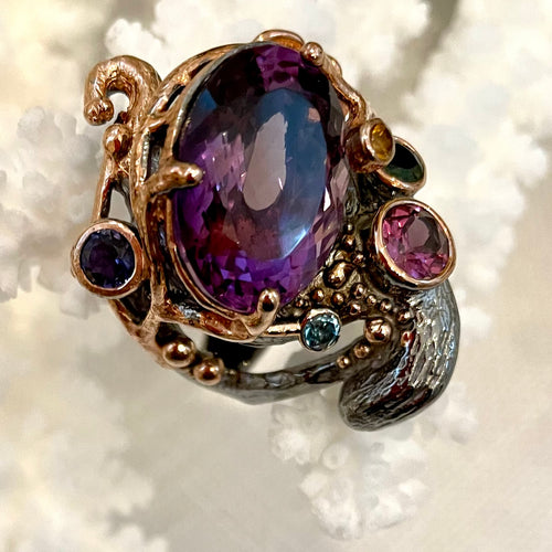 Sea-Inspired Amethyst Ring in Vermeil