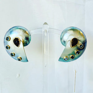 Bold Silver, Pearled Nautilus, Gold Earrings