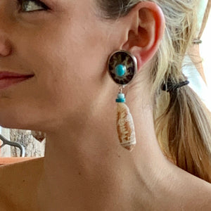 Sterling, Turquoise and Shell Clip Earrings