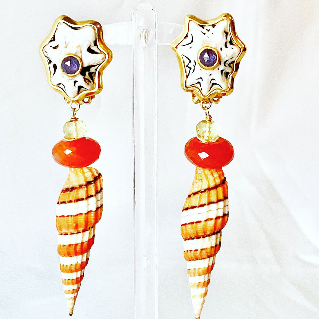 Gem and Mitre Shell Pierced Earrings