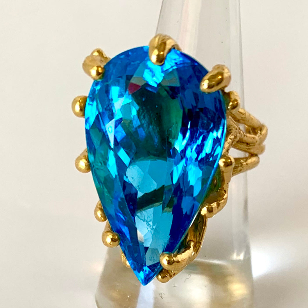 36-Karat Whopper Of A Blue Topaz Ring