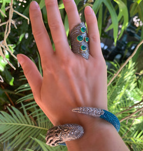 Shagreen and Sterling Octopus Cuff Bracelet