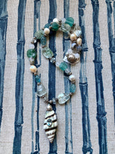 Long Sterling, Pearl, Aquamarine and Roman Glass Necklace