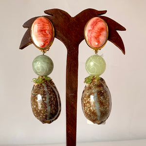 Spondilius, Peridot and Cyprea Vermeil Earrings
