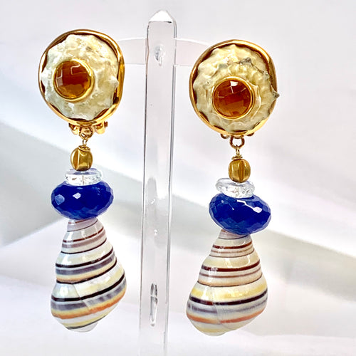 Citrine and Tree Snail Vermeil Earrings