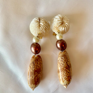 Mushroom Coral and Brown Olive Shell Earrings