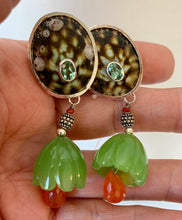 Tourmaline, Carnelian Floral Vermeil Clip Earrings