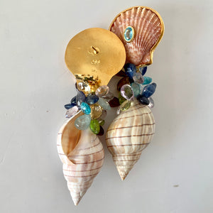 Cockle, Tulip Shell, Tourmaline Vermeil Earrings