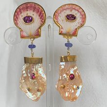Rare Scallop, Pearl and Gemstone Earrings