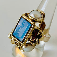 Pure Silver, Smoky Topaz and Pearl Ring