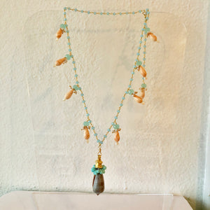 Cameo Shell and Smithsonite Necklace
