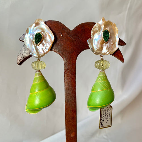 Amazing Tree Snail and Gold Earrings