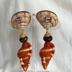Rare Scallop, Amethyst and Cymbatium Vermeil Earrings
