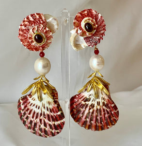 Bold Scallop and Pearl Earrings