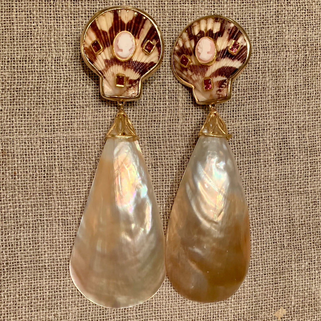 Scallop, Pink Topaz and Cut Shell Vermeil Earrings