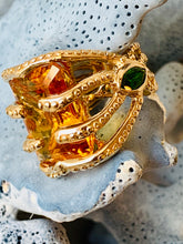 Citrine, Chrome Diopside and Gold Ring