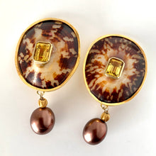 Polished Limpet, Citrine, Pearl Vermeil Clip Earrings