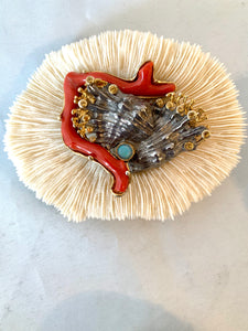 Silver & Gold, Gemstone Coral Brooch