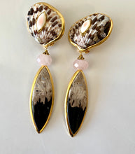 Neutral Landscape Agate, Onyx Earrings