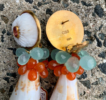 Carnelian, Amazonite, Conus Earrings