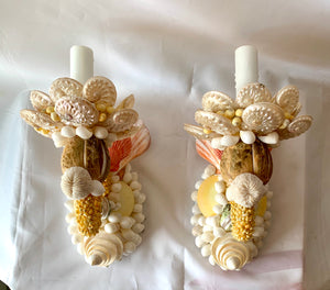 Pair Sorbet-Colored Songle-Light Sconces