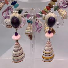 Tree Snail and Conch Bead Clip Earrings