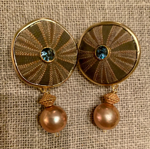 Simple Urchin, Topaz, Gold and Pearl Vermeil Earrings