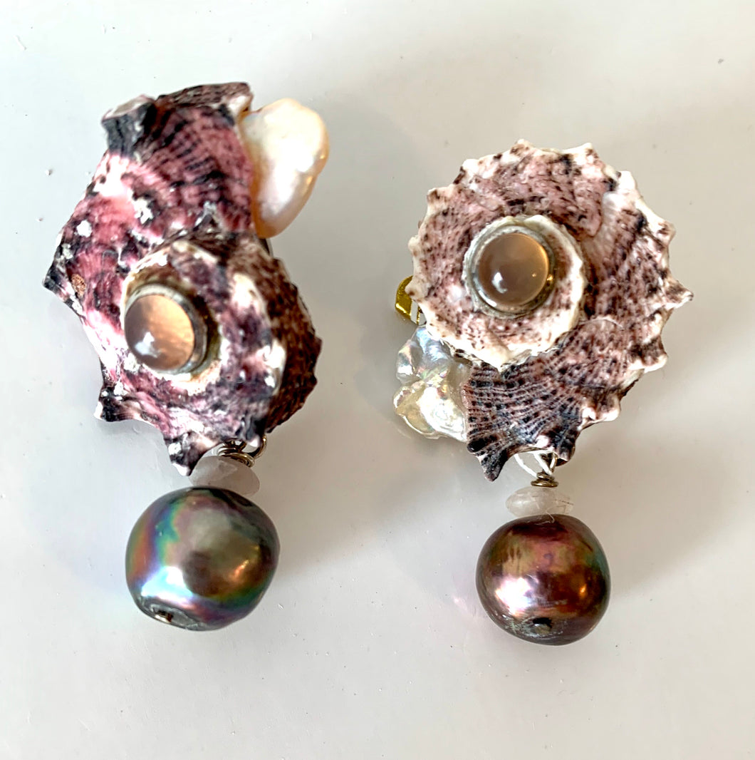 Pink Delphinula, Kunzite, Pearl Sterling Earrings