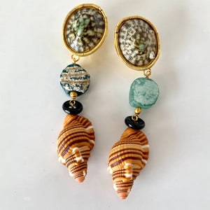 Rustic Roman Glass, Onyx, Cymbatium Vermeil Earrings