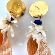 Show Stopper Tulip Shell, Keshi Pearl Vermeil Earrings
