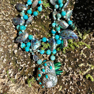 Turquoise, Peridot, Scarab Wing Necklace