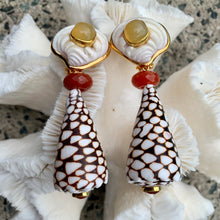 Textile Cone Vermeil Earrings with Carnelian