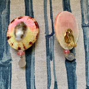 Painted Limpet, Carnelian and Moonstone Clip Earrings