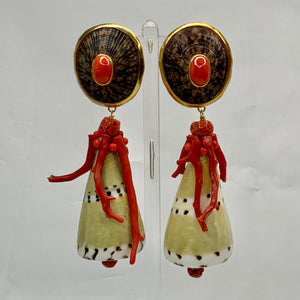 Coral-Skirted Exotic Conus Vermeil Earrings