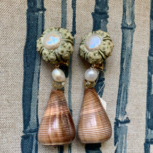 Urchin, Coin Pearl, Cone Shell Clip Earrings
