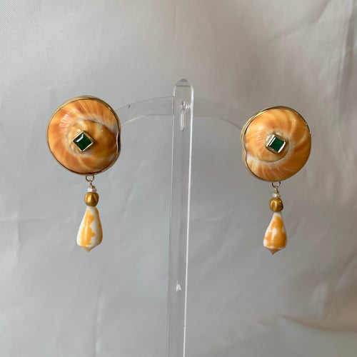 14-Karat Gold, Emerald and Exotic Shell Earrings