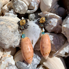 Pink Olive and Apatite Pierced Earrings