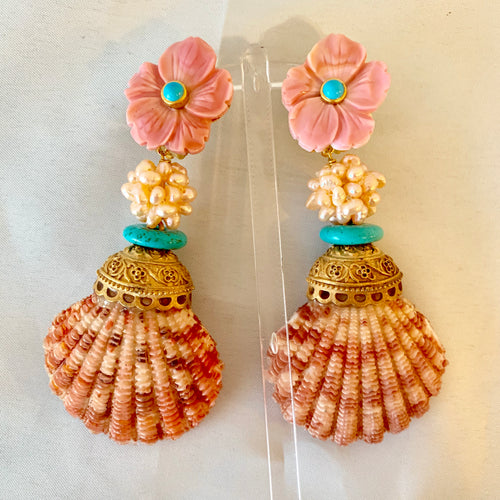Big Pink Shell Earrings