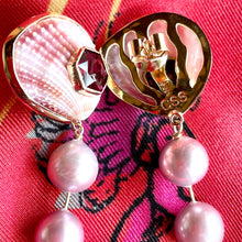 Pink Scallop and Pearl Drop, 14-Karat Earrings