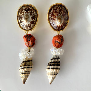 Limpet, Raw Coral, Moonstone, Shell Vermeil Earrings