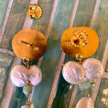 Double Coin Pearl, Roman Glass and Shell Vermeil Earrings