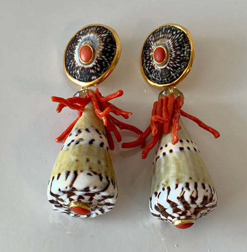 Army Green, Black, White and Coral Vermeil Earrings