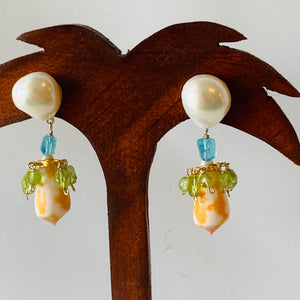 Preciosa Pearl, Citrine, Apatite 14-Karat Gold Earrings