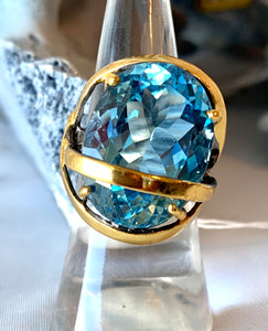 Swiss Blue Topaz Ring in Vermeil
